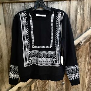 New Lovers & Friends embroidered black top S